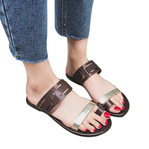 lat Sandals, Summer Sexy Casual Fashion Flip Flops Ladies Slip-on Wedge Shoes(Coffee,US 5) ()