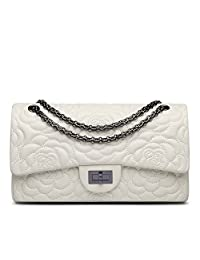 Ainifeel Women's Quilted Flower Genuine Leather Shoulder Bag with Chain Strap Purse (Large, Beige)