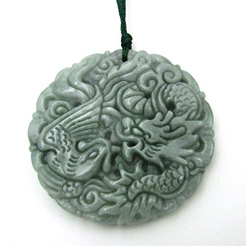 Jadeite Jade Chinese Dragon Phoenix Amulet Pendant (Jade Amulet)