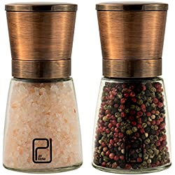 Premium Salt and Pepper Grinder Set - Best Copper Stainless Steel Mill for Home Chef, Magnetic Lids, Smooth Ceramic Spice Grinders with Easy Adjustable Coarseness, Top Salt and Pepper Shakers - 6 Oz