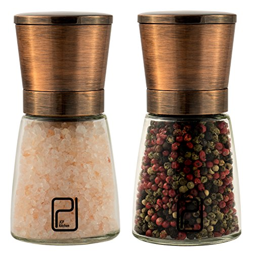 (Premium Salt and Pepper Grinder Set - Best Copper Stainless Steel Mill for Home Chef, Magnetic Lids, Smooth Ceramic Spice Grinders with Easy Adjustable Coarseness, Top Salt and Pepper Shakers - 6 Oz)