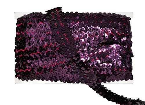 (Mandala Crafts Elastic Sequin, Flat Glitter Stretch Bling Paillette Fabric Ribbon, Metallic Appliqué Trim Lace for Dress Embellish, Headband (1 Inch, Burgundy))