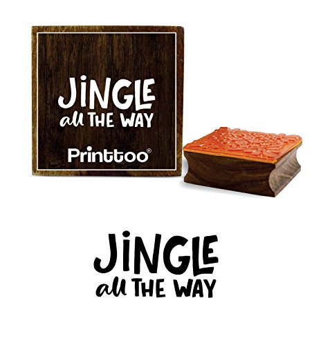 Printtoo Diary Card Print Jingle All The Way Text Design Square Wooden Rubber Stamp-3 x 3 Inches
