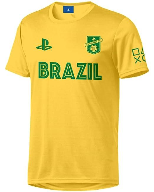Sony Playstation FC - Brasil - Hombre Oficial Camiseta de Fútbol - Amarillo, M