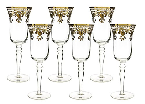 Fine 10 oz Champagne Flutes with Gold Accented Rim 8 Inches tall 6 Piece Gift Set