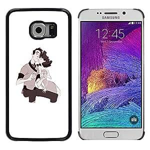 Shell-Star Arte & diseño plástico duro Fundas Cover Cubre Hard Case Cover para Samsung Galaxy S6 EDGE / SM-G925 / SM-G920A / SM-G925T / SM-G925F / SM-G925I ( Love Couple Kids Drawing Valentines )