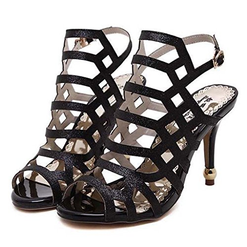 SHEO sandalias de tacón alto Señoras de alto perfil con un sexy hueco sandalias impermeables Negro