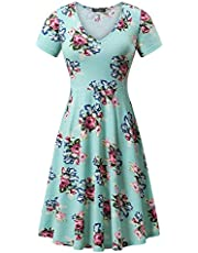 FENSACE with Pockets, Womens Short Sleeve Casual Flare A Line Midi Dress