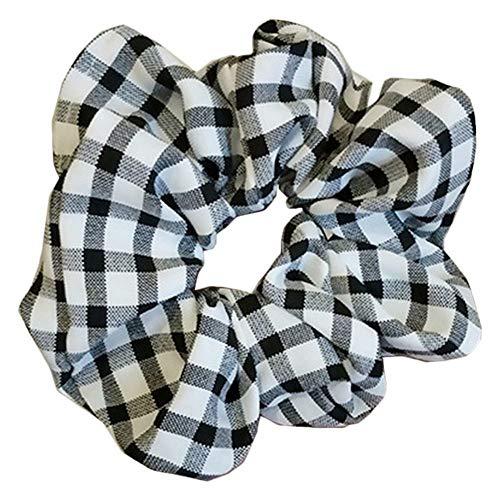 (Best Women Girls Grid Plaid Korea Style Hair Rope Ring Head Hair Accessories OC (Color - Black))