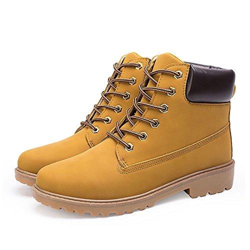 CHNHIRA Unisex Martin Boots Work Shoes Short Ankle Boots Yellow Warm Lining u4MJpRpz