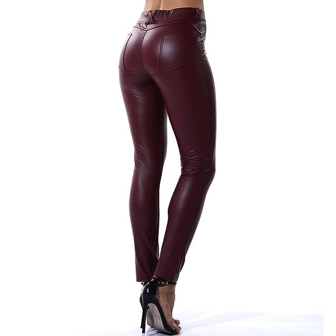 736a85ea572a8b Fittoo Leather Pants Leggings Heart Shape PU Sexy Elastic Pant Womens Butt  Lift Skinny Trousers -