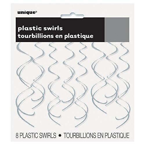 Plastic Hanging Swirl Silver Decorations