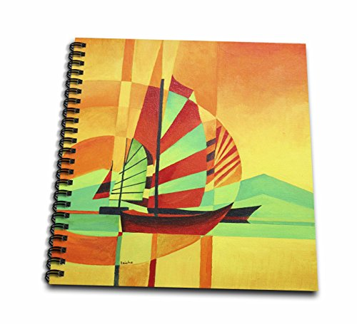Chinese Fishing Boat (3dRose db_63134_1 Sail to Shore Boating, Sailing Enthusiast, Fishing, Fishing Boat, Chinese Junk, Yellow, Orange Drawing Book, 8 by 8-Inch)
