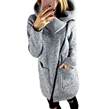 Sumen Women's Wide Lapel Oblique Zipper Coat Sweater Casual Jacket S-5XL