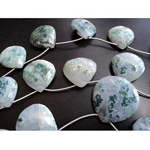 Super Quality Gemstone Beautiful Jewelry Moss Agate Briolette Beads/Faceted Heart Beads/Green Moss Agate/Moss Agate Beads/ 24mm Faceted Beads/ 8 Inch Strand Code-JP-3184   B07KNRSJ5C