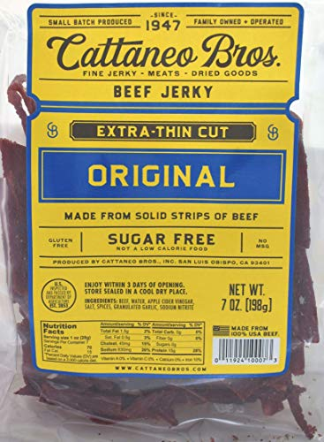 - Cattaneo Bros. - Extra-Thin Cut Natural Beef Jerky, 7 Ounce (Original)