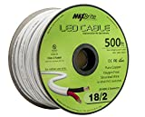 18AWG Low Voltage LED Cable 2 Conductor Jacketed In-Wall Speaker Wire UL/cUL Class 2 (500 ft reel)