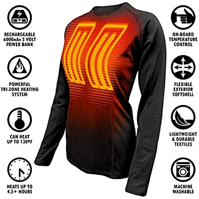 ActionHeat Base Layer Battery Operated Heated Shirt Women – Electric Heated Clothing w/ 3 Heat Panels for Winter Innerwear, Outdoor Camping, Skiing, Hunting - Black: Clothing