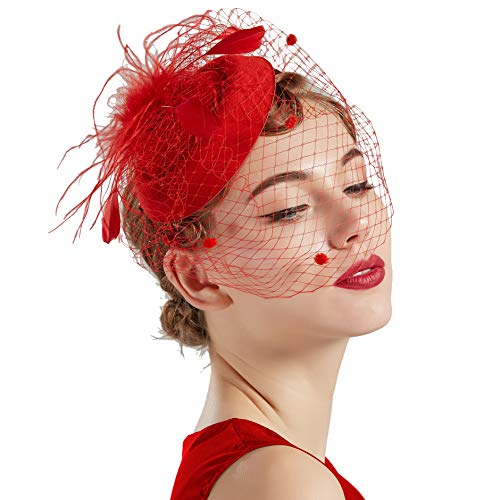 BABEYOND Women's Fascinators Hat Hair Clip Pillbox Hat Tea Party Fascinator Hat with Veil Headband for Cocktail Wedding Hair Accessories (Red) ()