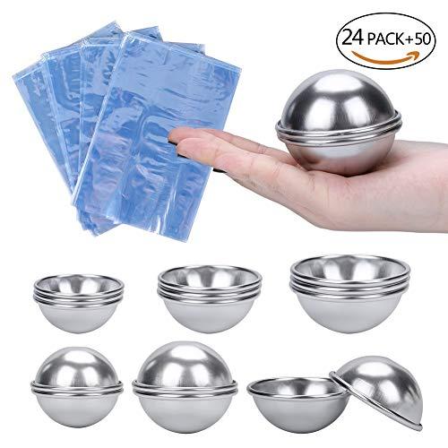 Elibeauty - Juego de moldes para bombas de baño (3 tamaños, 24 piezas, con 50 unidades de bolsas de plástico para envolver las bombas de baño, ...