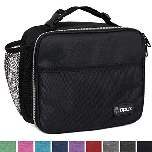 OPUX Premium Insulated Lunch Bag for Adults Men Women | Soft Leakproof Lunch Box for Kids, Boys, Girls| Reusable Durable Thermal Lunch Pail for School Work Office | Fit 6 Cans (Black)