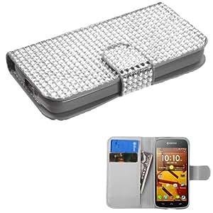 [ Kyocera Hydro icon / C6730 ] ToPerk Luxury Fashion Diamond Belt Purse Wallet Case & ToPerk ? Stylus Pen As Bundle Sale - Full Silver