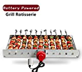 Image of HAOONE Portable Battery Operated Automatic BBQ Grill Rotisserie with 11 Skewers