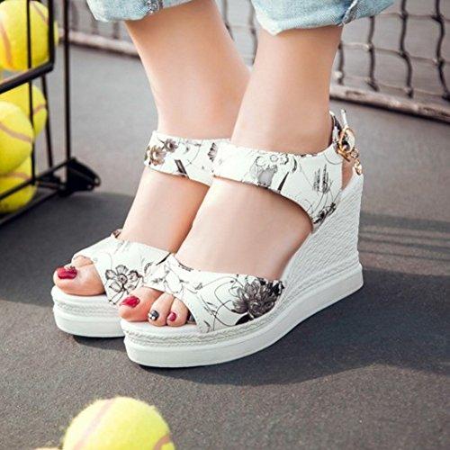Platform TAOFFEN Print Wedges Classic Heel Slingback Sandals Buckle High Women Black HTRnRpW