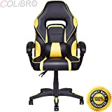 COLIBROX--Executive Racing Style PU Leather Gaming Chair High Back Recliner Office Yellow. executive racing style high back reclining chair gaming chair office computer.best gaming chairs amazon.