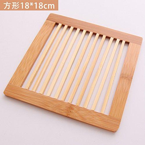 QWERWHH Bambus und Holz Kissen Cup Mat Wärmedämmung Kissen Schüssel Matte Sand Topf Anti Perm Pad (4 Stück)
