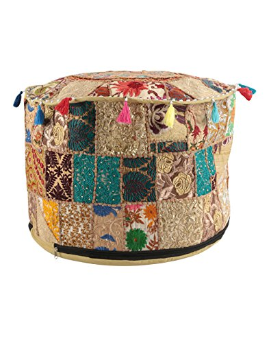 Home Décor Art Ottoman Pouf Cover Pouffe Decorative Foot Stool Covers Handmade Cotton Living Room Pouf Ottomans Round Comfortable Embroidered PatchWork Floor Cushion By Rajrang