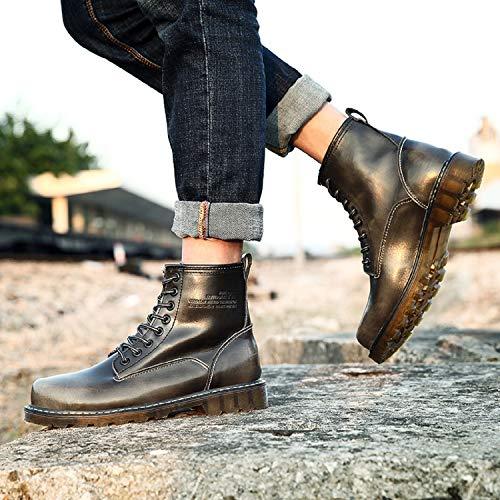 Schneestiefel Schwarz Knöchel Schuhe Wasserdicht Boots Stiefeletten Grau Warme Klassischer Leder Worker LILY999 Gefüttert Winter Stiefel Herren Boots qntHTWxZ7w