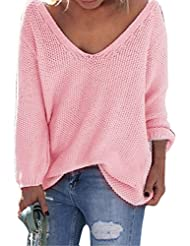 Shinekoo Women V-neck Long Sleeve Loose Sweater Casual Autumn Jumper pullover