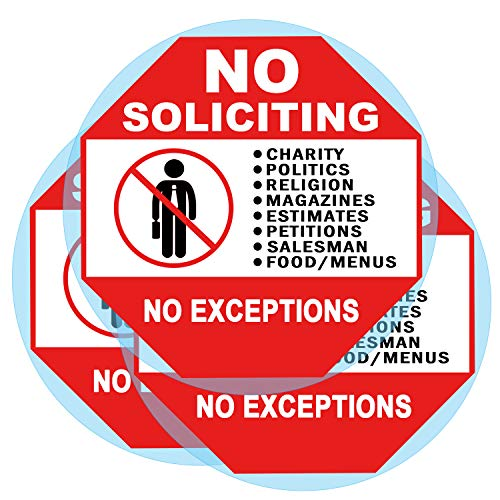 3 Set No Soliciting Sticker Static Cling Decal Inside Outside Window 6 x 6 Inch Removable and Reusable