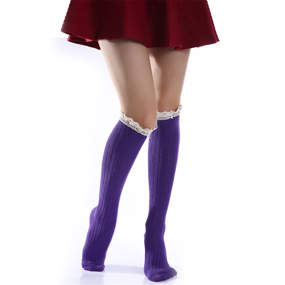 Wildestdream Womens Lace Trim Stockings Knee High Cotton Leg Warmers Purple