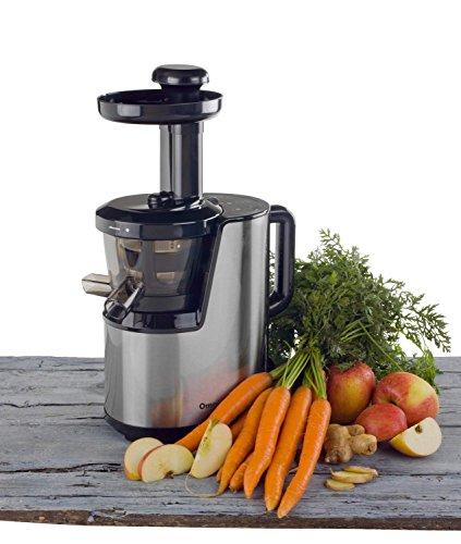 Der OmniJuice Slow Juicer Saftpresse Entsafter mit nur schonenden 43 U/min (maximale Saftausbeute, maximale Vitamine) Silber