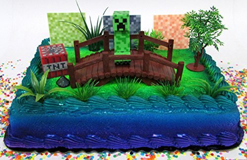 Minecraft-Creeper-Themed-Birthday-Cake-Topper-Set-Featuring-Creeper-Figure-and-Decorative-Themed-Accessories