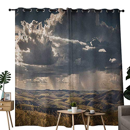 NUOMANAN Decorative Curtains for Living Room Rustic,Puffy Clouds in The Sky Over Mountains Rough Valley Canyon Natural Wonders Concept, Multicolor,Blackout Draperies for Bedroom 84