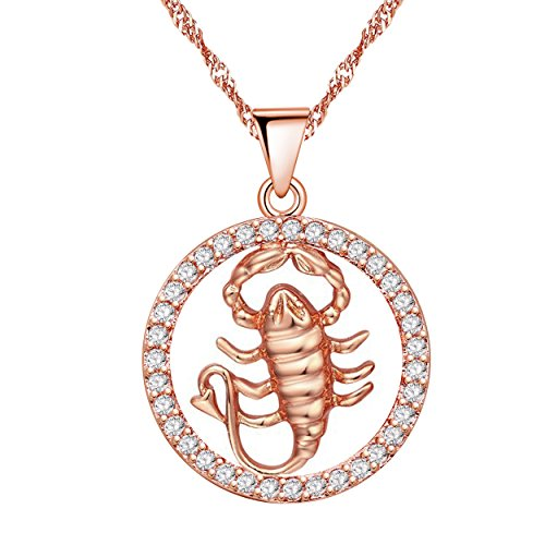 Uloveido 12 Zodiac Scorpio Necklace Birthday Gift Rose Gold Plated with Cubic Zirconia Pendant Jewelry Constellation Necklace Nov 22th to Dec 18th N1047-Scorpio