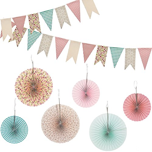 Tea Party Decor - Vintage Floral Hanging Fans and Banner Decorations Decor 7 PC Pack for Wedding, Tea Party or Birthday Party in multicolor multi-colored designs