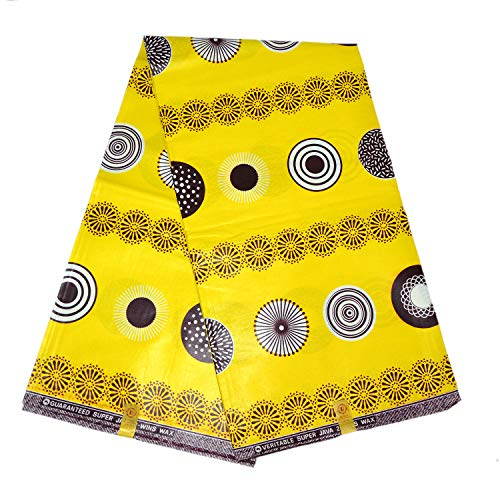 LaceQiao Super Wax hollandais Java Wax Print Fabric African Prints Real Wax 100% Cotton Fabric for Women Dress 6yards/lot (Yellow)