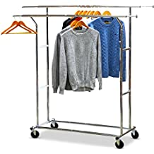 SimpleHouseware Commercial Grade Double Rail Clothing Garment Rack with 4-Inch Casters, Chrome
