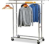 portable coat rack - SimpleHouseware Supreme Commercial Grade Double Rail Clothing Garment Rack, Chrome