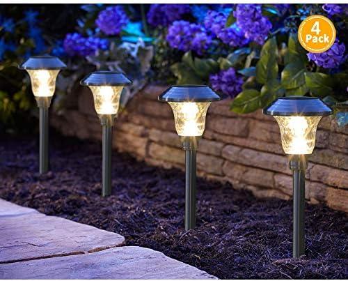 6 Pcs Stainless Steel LED Solar Landscape Light Pathway Garden Color Changing
