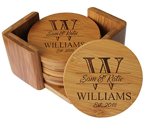 (Custom Engraved Bamboo Wood Coasters - Personalized Coaster Set for Drinks, Weddings, Couples with Holder - Monogrammed for Free (Round Bamboo))