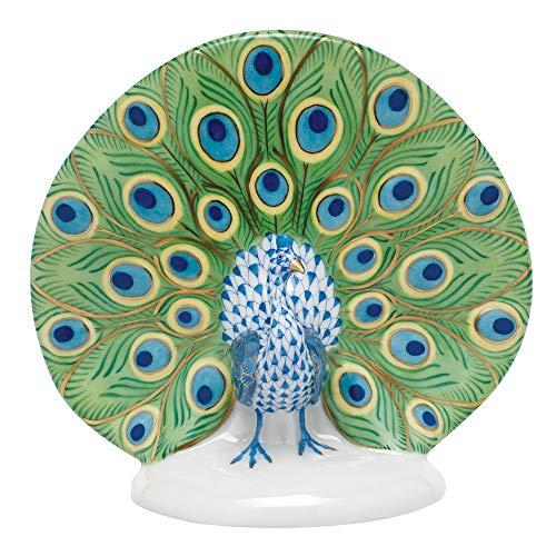 Herend Peacock Porcelain Figurine Blue Fishnet