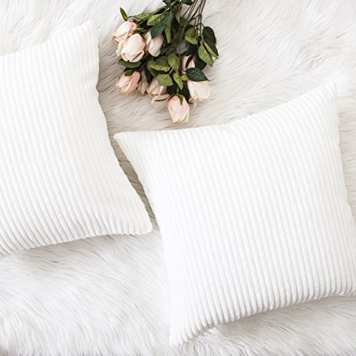 HOME BRILLIANT Set of 2 Decor Supersoft Pillow Covers Striped Velvet Corduroy Decorative Throw Toss Cushion Cover for Sofa, Pure White, (50x50 cm, 20inch)