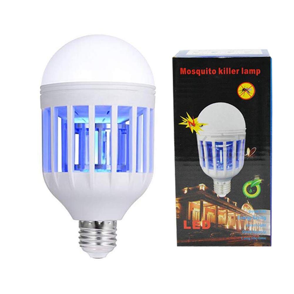 PINSAM Bug Zapper Light Bulb 15W 2 in 1 Mosquito Killer Lamp 1200LM E26 Base Bug Zapper Light Indoor Outdoor