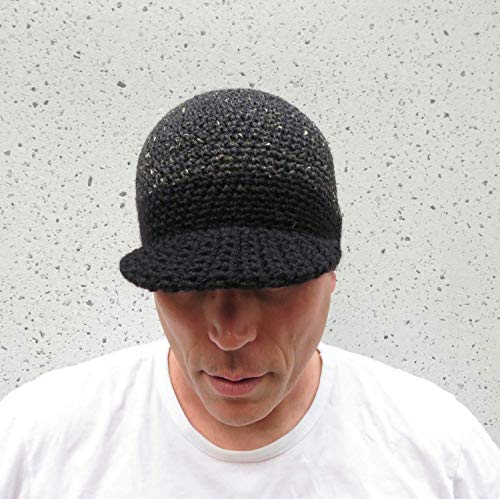 (Crochet Visor Beanie in Wool)