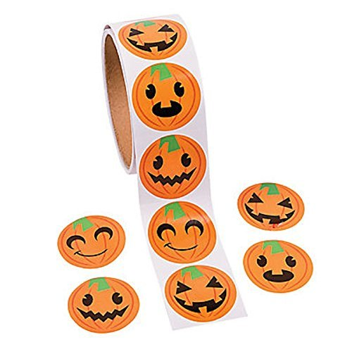 Fun Express Jack-o-Lantern Pumpkin Face Halloween Roll Stickers ~ 100 Round 1.5
